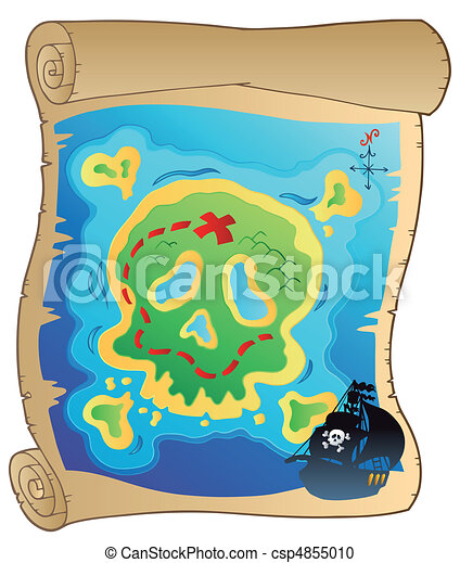 Old parchment with pirate map - csp4855010