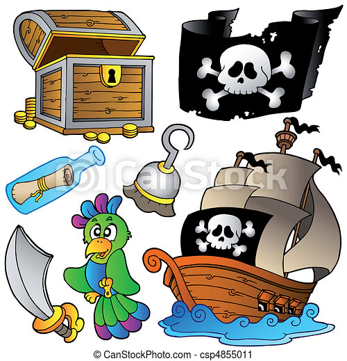Pirate collection with wooden ship - csp4855011