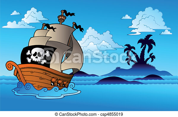 Pirate ship with island silhouette - csp4855019