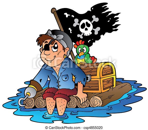 Cartoon pirate sailing on raft - csp4855020
