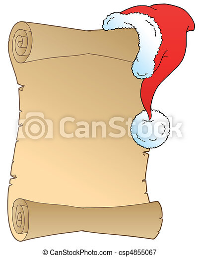 Scroll with Christmas hat - csp4855067