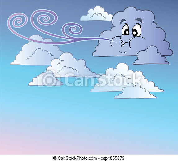 Windy sky with cartoon clouds - csp4855073