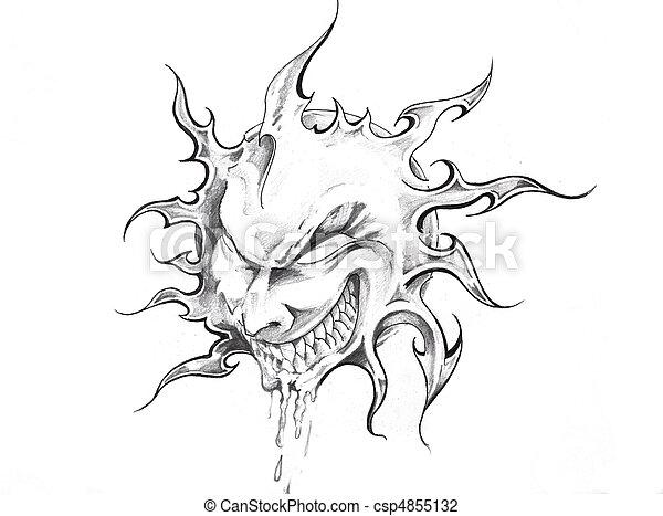 photo de tatouage croquis soleil art figure croquis de csp4855132 recherchez des. Black Bedroom Furniture Sets. Home Design Ideas