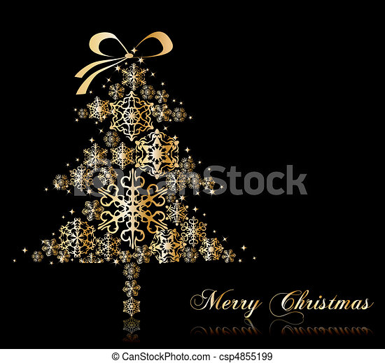 Christmas Tree with stars. Vector - csp4855199