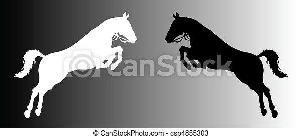 silhouette of horses - csp4855303