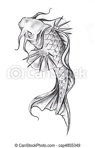 Banque de photographies de poisson rouge tatouage - Croquis poisson ...