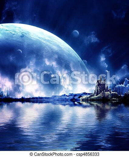 Planet, fantasie, landschaftsbild - csp4856333