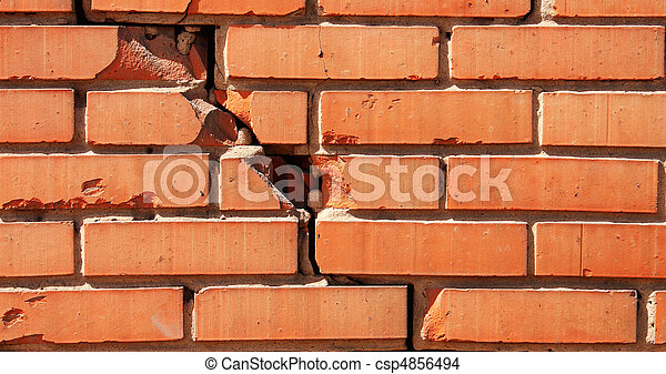 Damaged brick wall - csp4856494