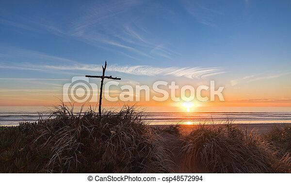 Sunset Stick Cross - csp48572994