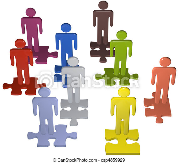 Diverse people team stand on puzzle pieces solution - csp4859929
