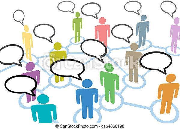 ネットワーク, 人々, コミュニケーション, 接続, スピーチ, 社会, 話 - csp4860198