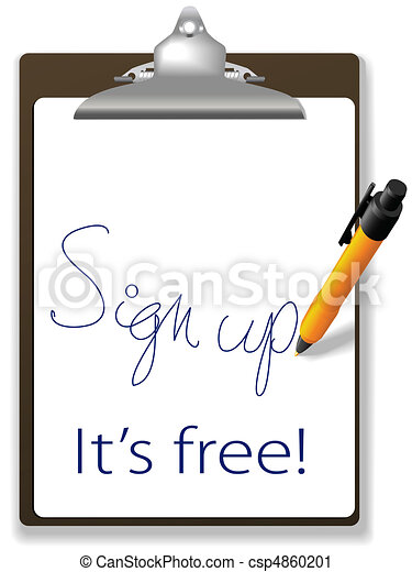 Sign up free clipboard pen website icon - csp4860201