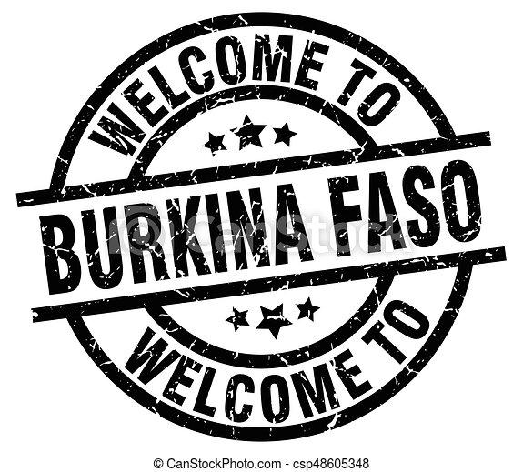 welcome to Burkina Faso black stamp - csp48605348