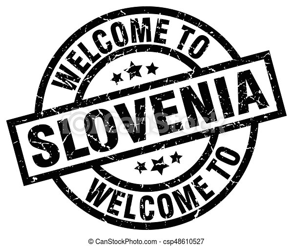 welcome to Slovenia black stamp - csp48610527