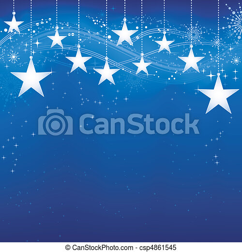 Festive dark blue Christmas background with stars, snow flakes and grunge elements.  - csp4861545