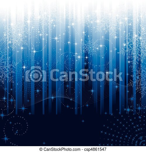 Stars and snowflakes on blue striped background. Festive pattern great for winter or christmas themes. - csp4861547