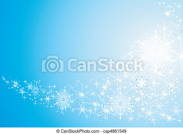 Abstract festive background with shiny stars and snow flakes. - csp4861549