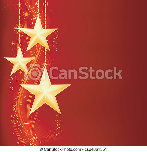 Festive red golden Christmas background with golden stars, snow flakes and grunge elements.  - csp4861551