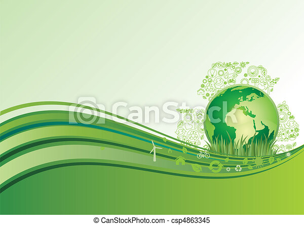 earth and environment icon, green ba - csp4863345