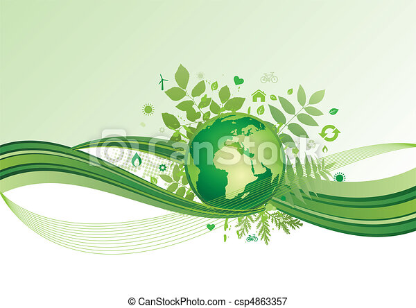 icono, verde, tierra,  Ba, ambiente - csp4863357