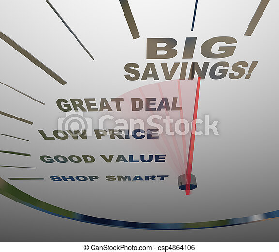 Big Savings - Speedometer Measures How to Save - csp4864106