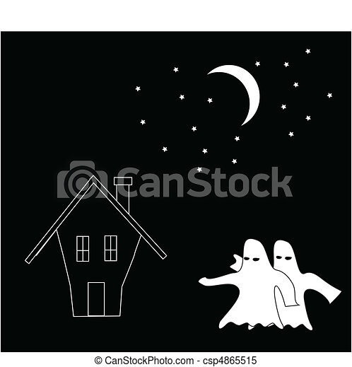 cartoon of ghosts attack the house  - csp4865515