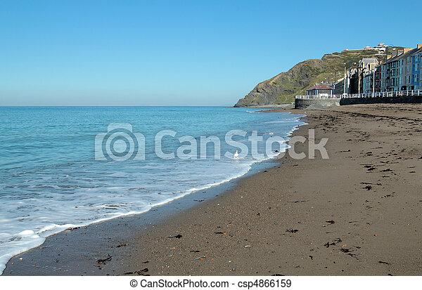 Aberystwyth North beach calm sea. - csp4866159