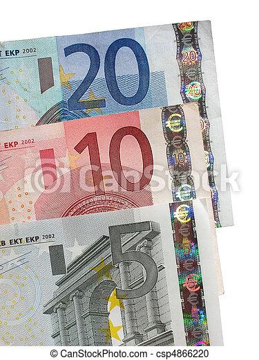 Five, ten and twenty Euro notes close up. - csp4866220