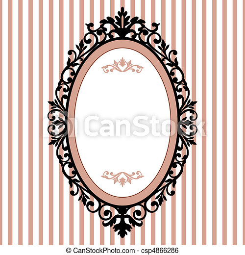 Decorative oval vintage frame - csp4866286
