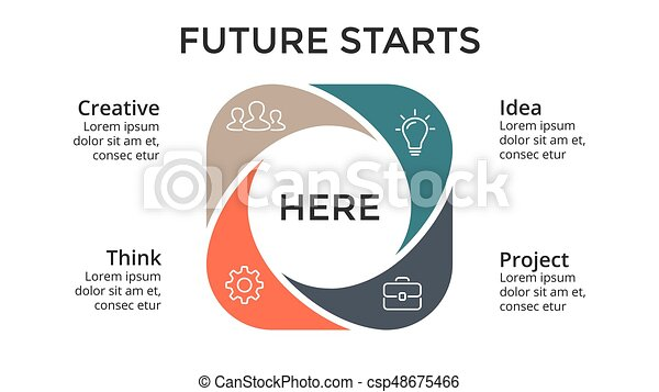 Vector circle arrows infographic, cycle diagram, graph, presentation chart. Business concept with 4 options, parts, steps, processes. Slide template. - csp48675466
