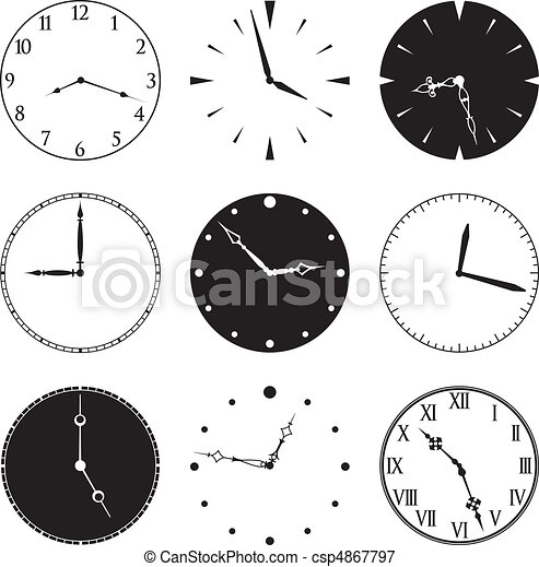 Nine Clock Faces and Hands - csp4867797