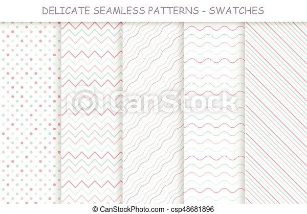 Collection of seamless delicate patterns. Soft colors - csp48681896