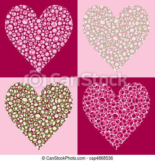Four Bubble Filled Hearts - csp4868536