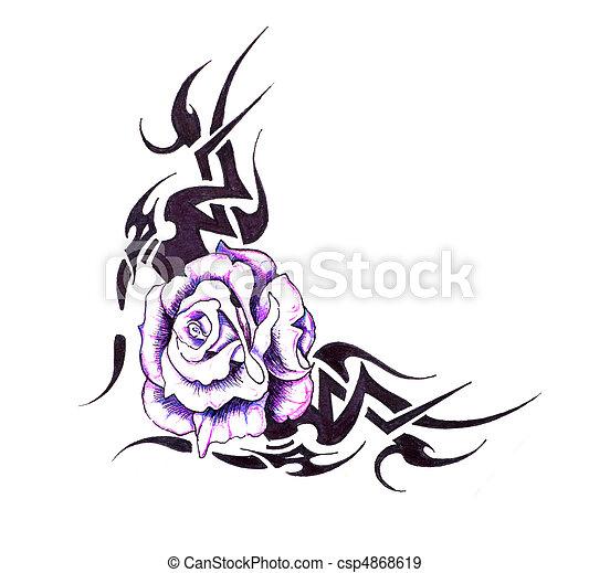 Banque de photographies de tatouage croquis fleur tribal conception art croquis - Tattoo tribal fleur ...