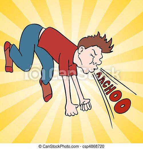 Man Making Loud Sneeze - csp4868720