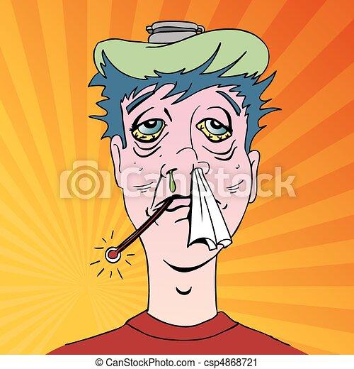 Man with Terrible Flu Symptoms - csp4868721