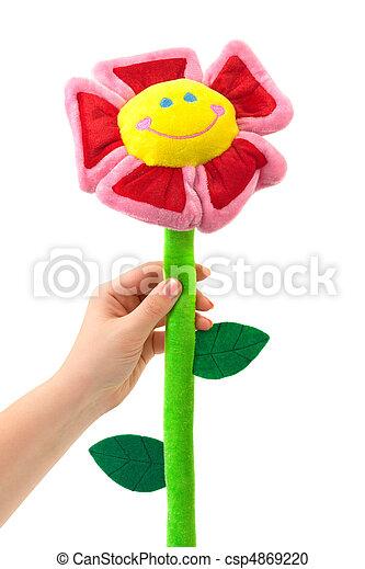 玩具, 花, 手 - csp4869220