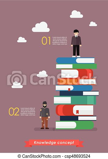 Failure man and Success man on a lot of books infographic - csp48693524