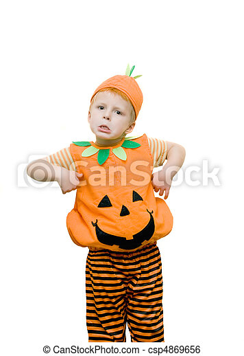 Boy pulling a funny face wearing a halloween costume. - csp4869656