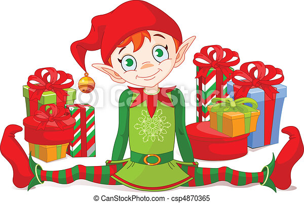 Christmas Elf with gifts - csp4870365