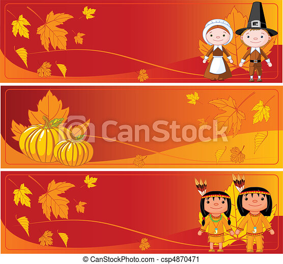 Horizontal Thanksgiving Banners - csp4870471