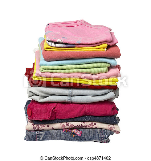 stack of clothing shirts - csp4871402