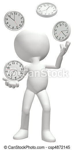 Clock juggler juggles clocks to manage time schedule - csp4872145