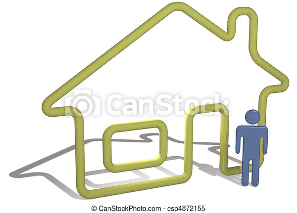 Home person stands by 3D symbol house outline - csp4872155