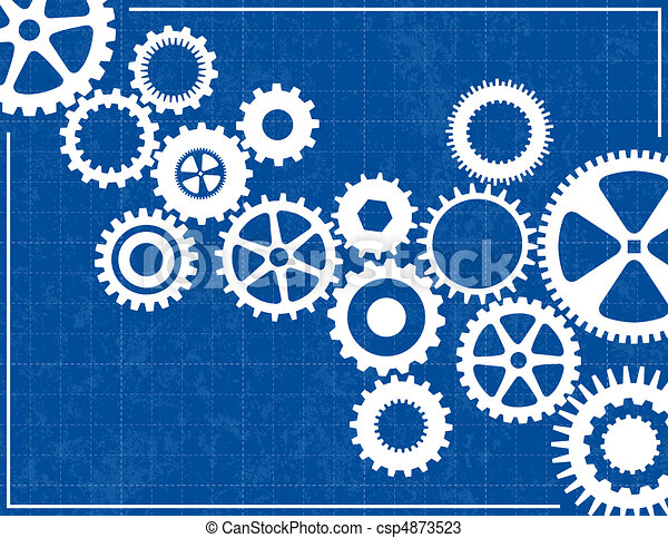 Blueprint Background with cogs - csp4873523