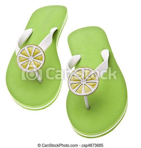 Lime Themed Flip Flops - csp4873685