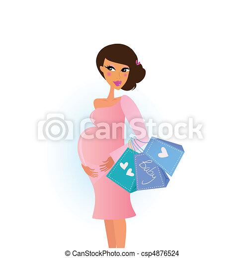 Shopping pregnant woman - csp4876524
