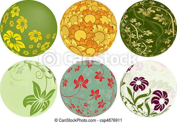 Six Floral Balls to add to your designs - csp4876911