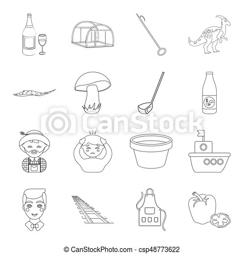 animals, alcohol, plants and other web icon in outline style. sport, history, agriculture icons in set collection. - csp48773622