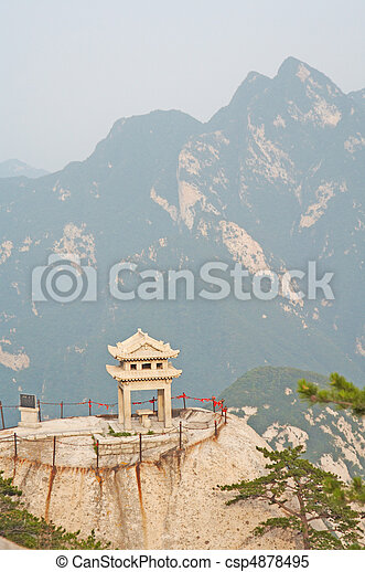 stone pagoda on the East Peak of the holy mountain Hua Shan, Xi'an, China - csp4878495